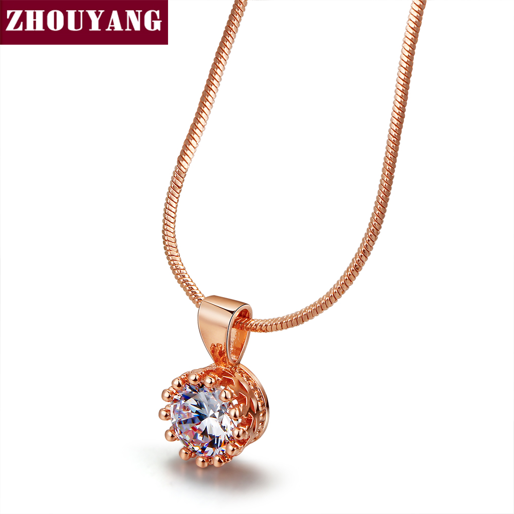 Top Quality Crown Crystal Necklace Rose Gold Color Fashion Jewellery Nickel Free
