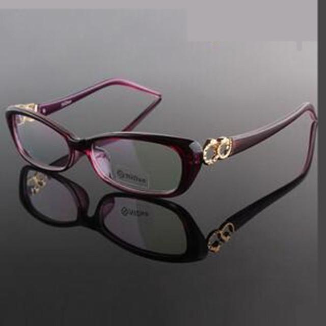 2016 nueva señora gafas de marco negro vino púrpura colores lentes claros gafas graduadas