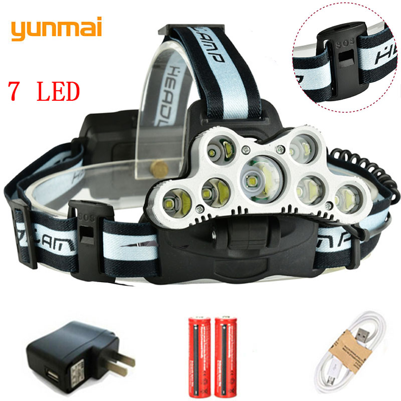 yunmai USB Rechargeable 7 LED Headlight 5T6+2XPE Super Power Micro Headlamp Light 6 Modes 20000LM Head Lantern Fishing LED Lamp xml t6 led headlamp headlight 13000 lumens head lamp flashlight rechargeable lantern on the head emergency light for fishing