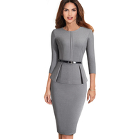 Autumn Winter Classic Women Business Dress Elegant Sashes Solid Color Bodycon Work Career Office Dress EB473