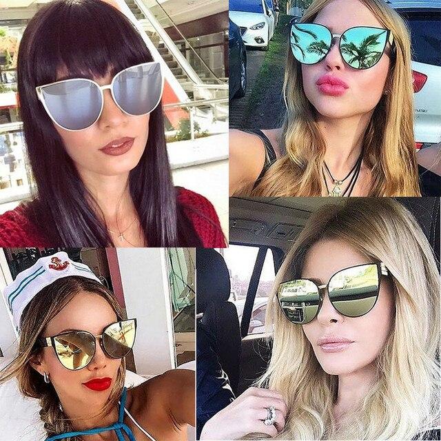 Высокое Качество 2016 New Негабаритных Cat Eye Солнцезащитные Очки Женщины Мода Лето Стиль Большой Кадр Зеркало Солнцезащитные Очки Женский Óculos UV400