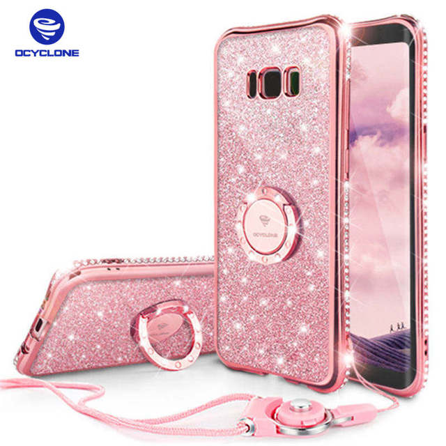competitive price 9eeaf b9f55 US $8.1 25% OFF|For Samsung Galaxy S9 S8 Plus Case Rhinestone Cover For  Samsung Note 8 Case Ring Bling Cover For Galaxy S8 Case Glitter -in  Rhinestone ...