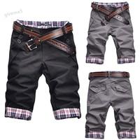 Fashion Men`s Summer Trousers Casual Natural Waist Pocket Decor Contrast Color Jeans Knee Length Short Pants