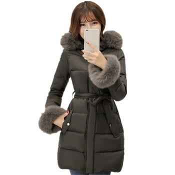 Winter Jacket Women Elegant Parka Down Cotton Coat Female Plus Size Long Ladies Winter Jackets Thicken Hooded Jacket Women Q1505