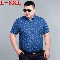 8XL 7XL big size Men Hawaiian Short Sleeve Shirt Male Luxury Cotton Aloha Flower Floral Printed Casual Shirt Clothes 2018 Summer
