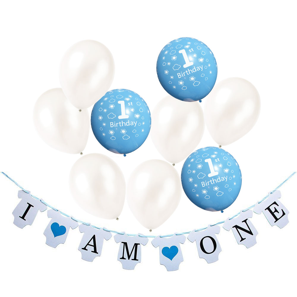 ZLJQ 21 Pcs 1 Year Old Birthday Baby Shower Party Decoration Banner (I Am One) Blue and White 1st Balloon Birthday Supplies