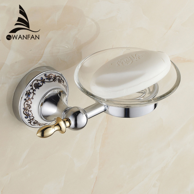 Hot sale blue white porcelain soap dish holder solid brass for Blue white bathroom accessories