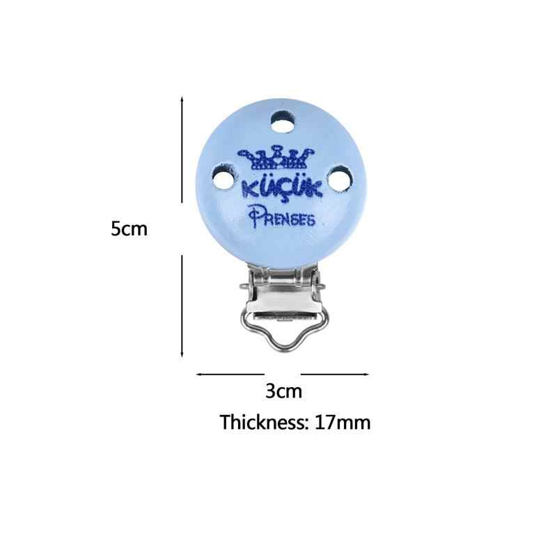 5pcs Baby Pacifier Clips Sweet Blue Imperial Crown Round Cips Kids Wooden Mental Nipple Clip For Infant Baby 50*30mm