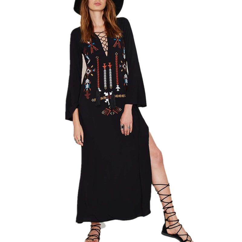 Ilstile 2018 BOHO Vintage Luva Longa Das Mulheres Lace Up V pescoço Bordado Floral Dividir Longo Maxi Dress Vestido de Verão Da Praia do Verão preto