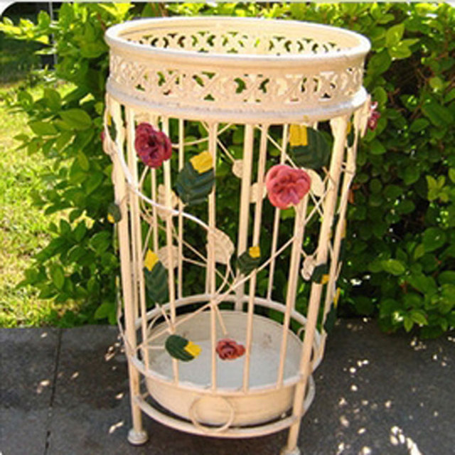 Color Flower Wrought Iron Umbrella Stand Household Umbrella Stand Umbrella Storage  Rack French Umbrella Bucket