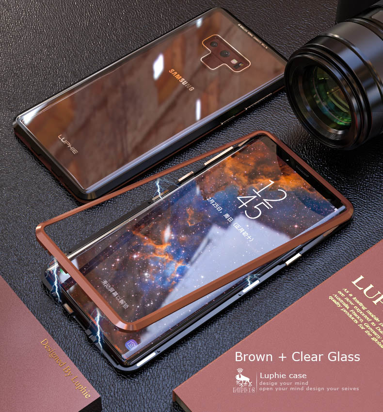 LUPHIE Magnetic Case For Samsung Galaxy Note 9 Clear Glass Magnet Case (11)