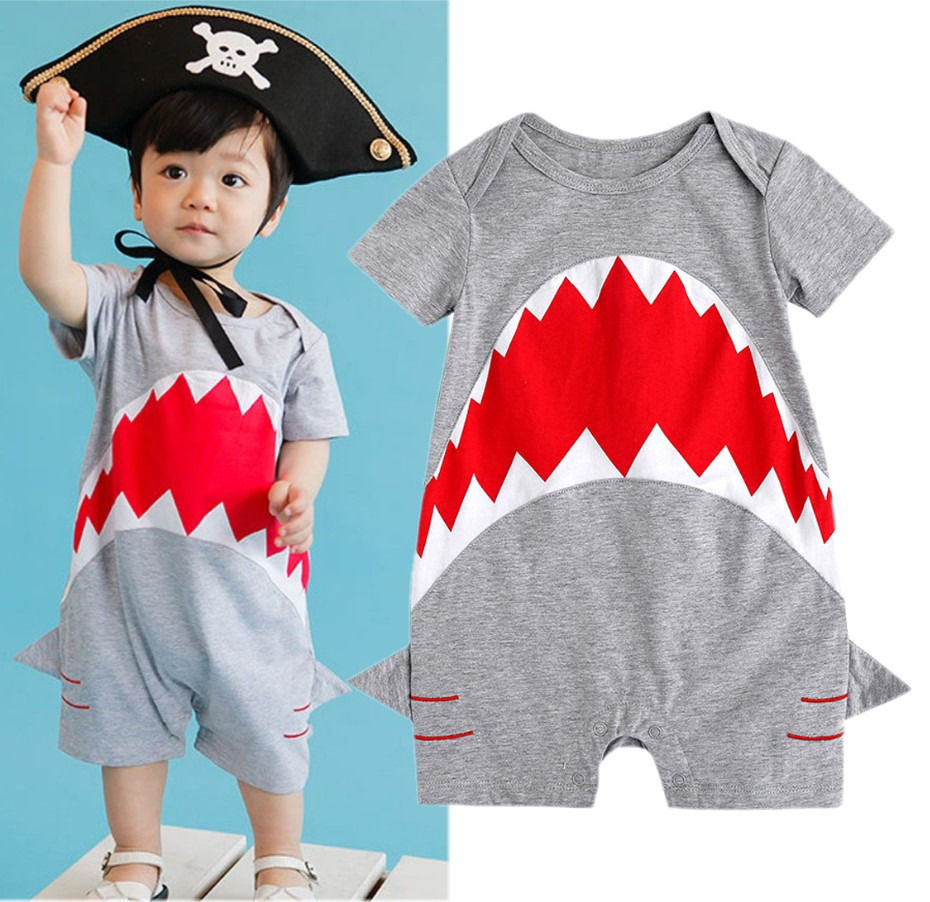 Baby Bodysuits Boys Girls Summer Clothing Cotton Shark
