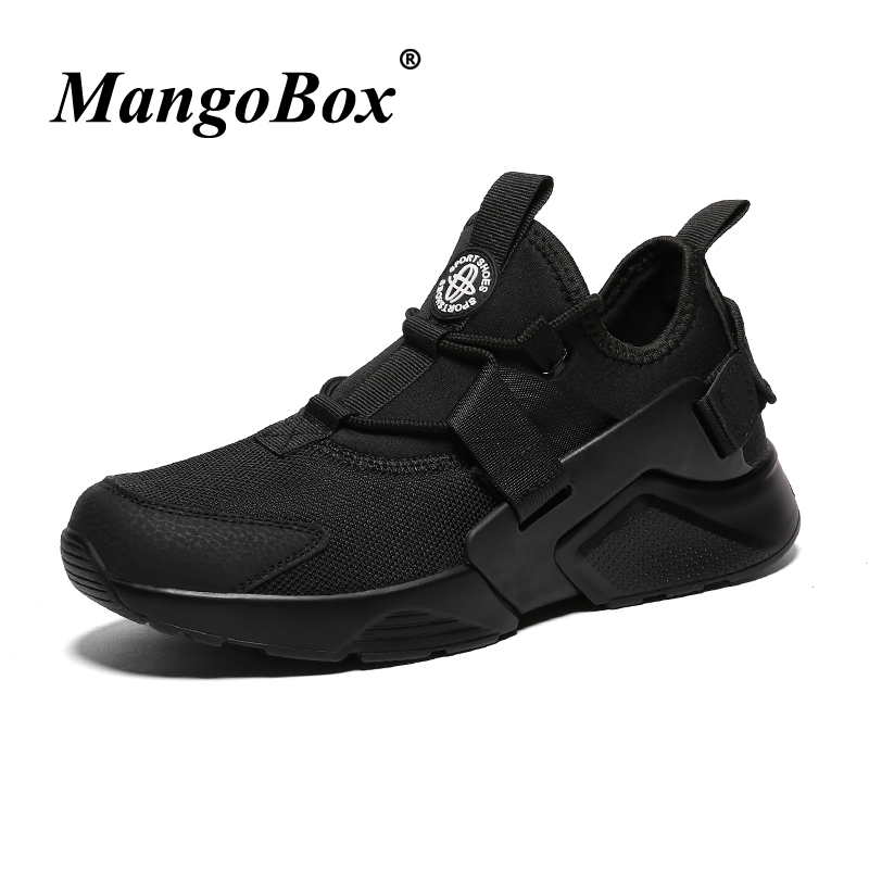 Brand Sport Footwear Men Spring Autumn Man Running Shoes Mid-top Male Athletic Footwear Black White Anti-slip Men Sneakers
