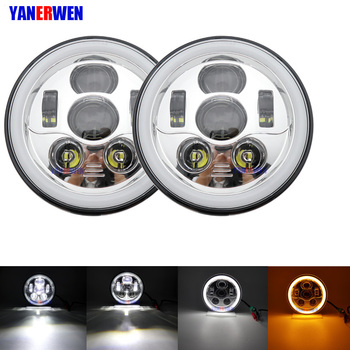 7inch Led Headlight Hi/Low Beam Light Halo Angle Eyes DRL Headlamp For Jeep Wrangler Off Road 4x4 suzuki samurai Lada Niva DOT