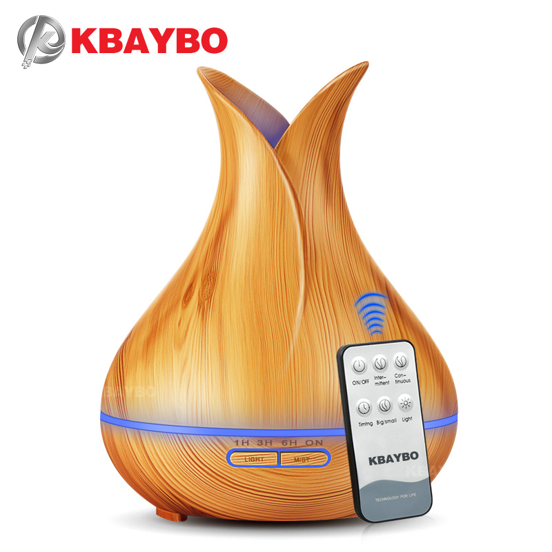 400 ml KBAYBO Télécommande À Ultrasons Bois Grain Humidificateur Aromathérapie Aroma Huile Essentielle Diffuseur pour La Maison Bebe