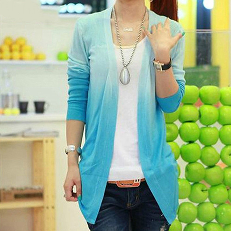 Womens Fashion Casual Gradient Color Long Sleeve Sweater Knitwear Cardigan