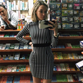 HEYounGIRL 2017 Новая Весна Полосатый Черный И Белый Цвет Dress женщины Полный длинным Рукавом Теплый И Мода Повседневная Работа Партии платья