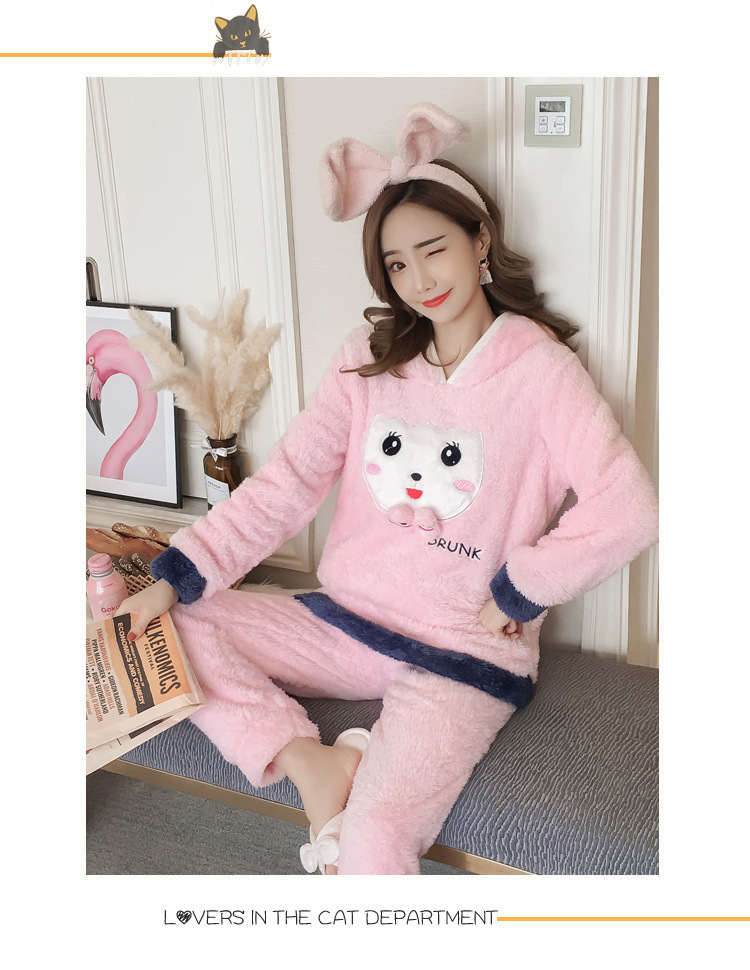 Winter Women Pajama Flannel Sleepwear Long Sleeves Hot Pajamas For Women Velvet Pajama Women Soft Clothing 88
