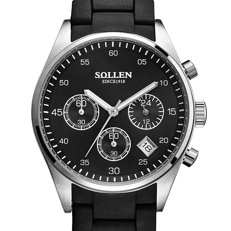 SOLLEN Men's Multi-function Quartz Watch 24 Hours Function Engraved Dial Watches silicone+Steel Strap Men Relogio Clock Original цена и фото