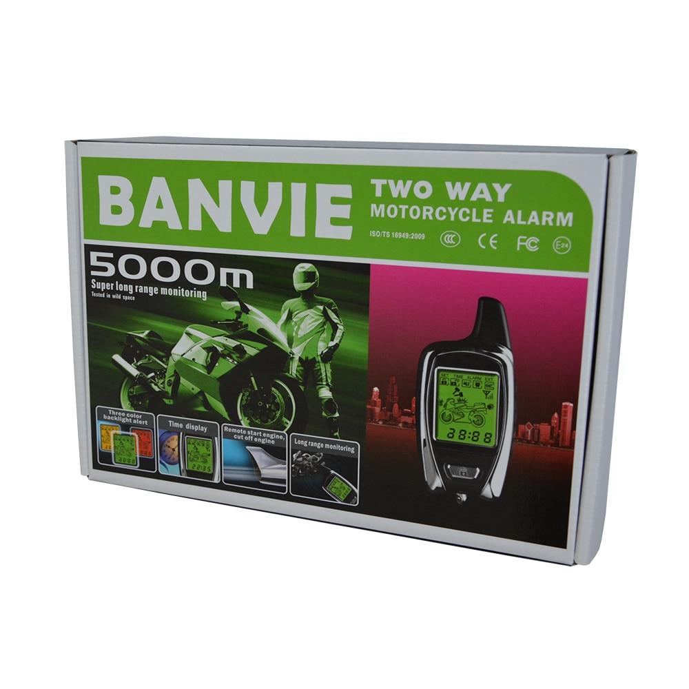 100% OEM van SPY 5000 m 2 Way Anti-diefstal Motorfiets alarmsysteem met twee LCD-zenders op afstand starten van de motor