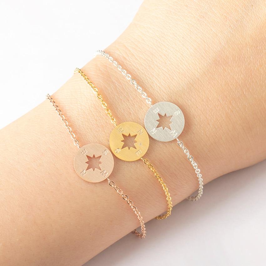 2017 Rose Gold Compass Armband Femme BFF Travel Smycken Pulseras Mujer Rostfritt Stål Kvinnor Överlevnad Armband Bijoux