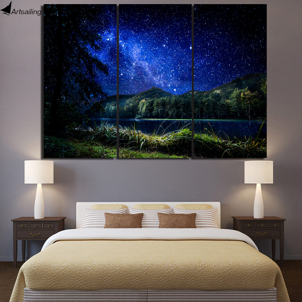 3 pcs canvas art starry night river poster hd printed wall art home decor canvas painting. Black Bedroom Furniture Sets. Home Design Ideas