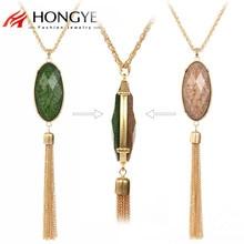 HONGYE Alloy Tassel Necklace Gold Silver Long Pendant for Women 2017 Double Side Oval Stone Resin