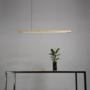 Image 5 - Willlustr LED עץ Talo תליון מנורת אגוז ארוך בר השעיה צינור אור משרד ישיבות אוכל חדר מלון וילה דלפק אור
