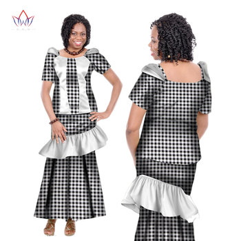 Summer Women Dress Traditional African 2 Pieces Set Clothing Customized Made Tops + Skirts Hot Sale BRW  WY166