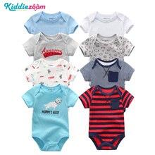 8 teile/satz Kurzarm Baby Strampler 100% Baumwolle Overalls Neugeborenen Jungen Kleidung Roupas de bebe mädchen overall & kleidung für 0 1years