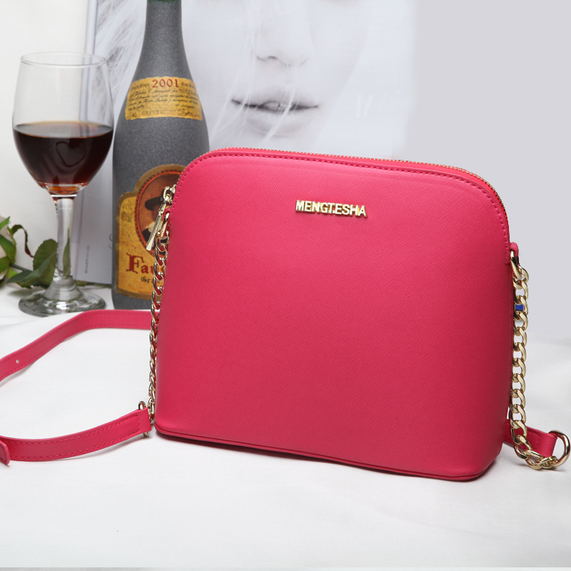 MENGTESHA Women Leather Messenger Handbags michael Bags Same Style Chains Shell Bags Cross Body Over Shoulder