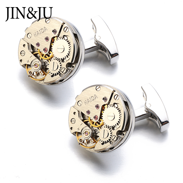 Jinju Watch Movement Design Cufflinks Immovable Steampunk Gear Mechanism Cuff Links Mens Relojes Gemelos