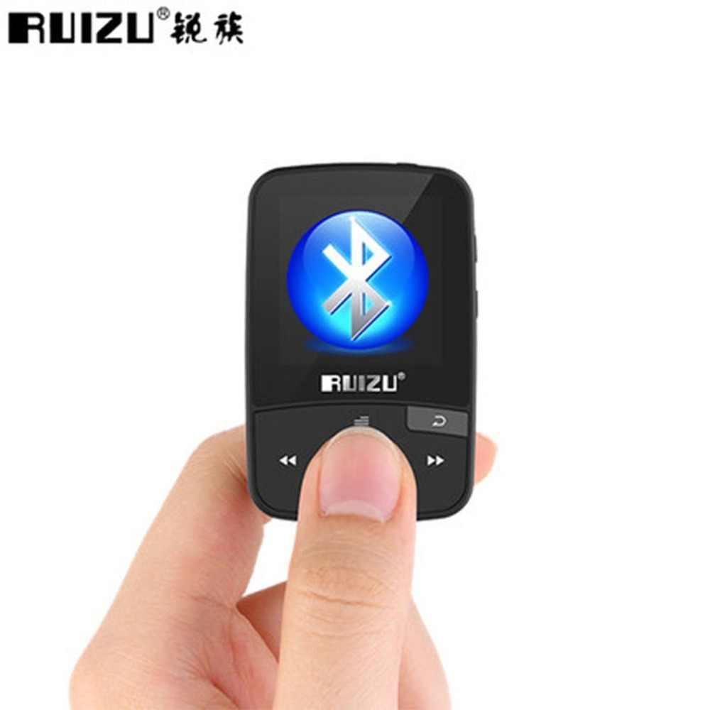 Ruizu X50 Спорт Аудио Мини Bluetooth Mp3 плеер Музыка Аудио Mp 3 Mp-3 с широким диапазоном, цифровой Hi-Fi Экран Fm Flac Usb 8 Gb потери