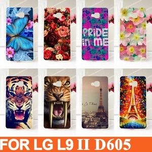 Moda de nova Chegada caso Pintado Para LG Optimus L9 II 2 D605 L9II belas flores Rígido de Volta Caso Capa Diy caso de Telefone pintura