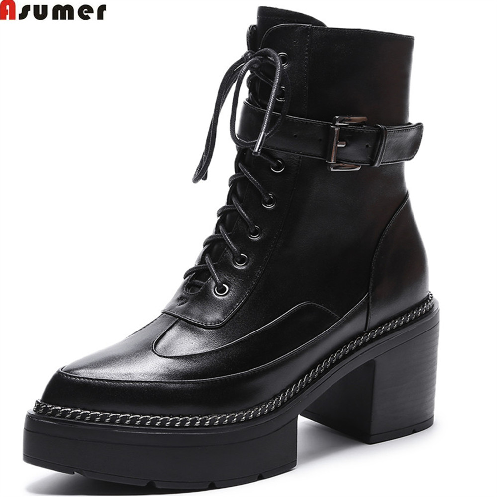 ASUMER autumn winter women boots fashion pointed toe zipper genuine leather ladies boots square heel cow leather ankle boots petzl demi rond