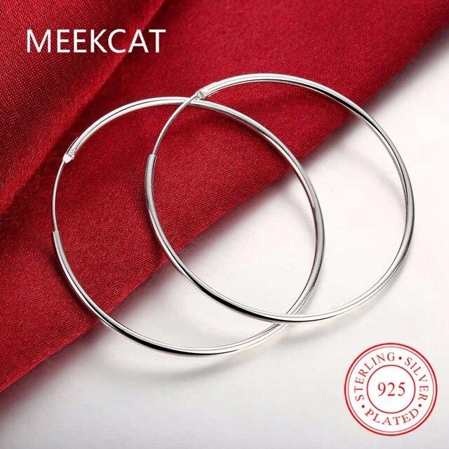 Diameter 5cm Smooth Round Creole Big Hoop earings 925 stamped silver plated Prat