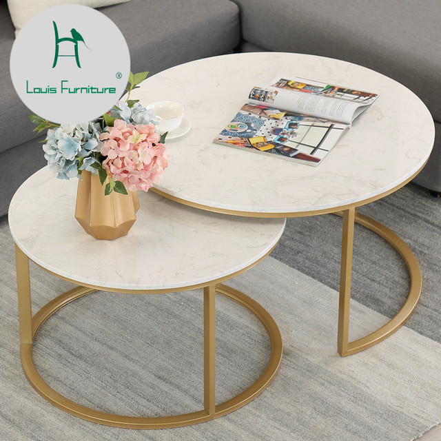 Louis Fashion Coffee Table Marble Simple Living Room Modern Creative  Combination Small Apartment Mini Round Iron European Style