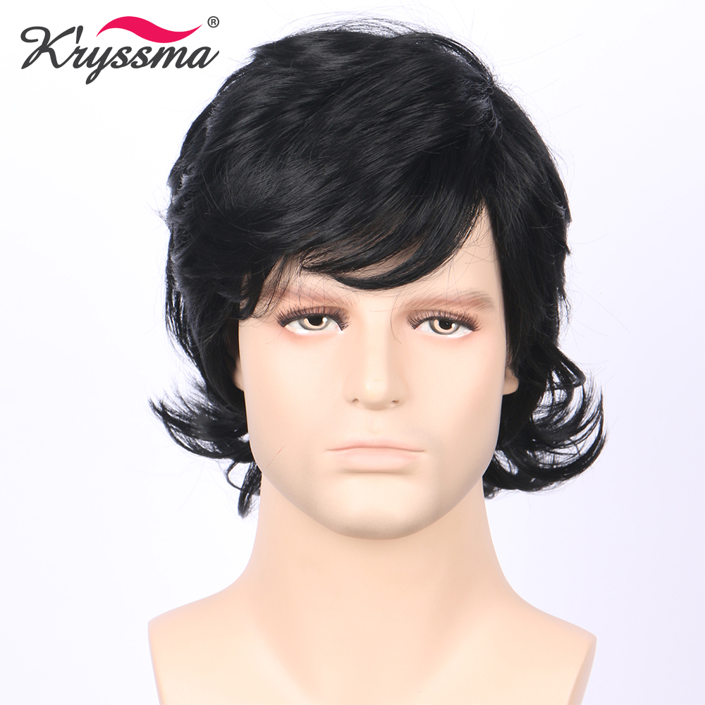 Short Mens Wig Off Black Natural Black Synthetic Hair Wigs with Bangs for Men Glueless Heat Resistant Fiber Left Part European