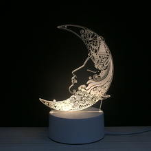 Góc Mặt LED 3D Lưỡi Liềm Trăng Cô Gái Đèn Ngủ Acrylic Đèn Ban Đêm Ánh Sáng Vật Sáng Chói Với Cảm Ứng Từ Xa Đèn Đèn Trẻ Em Trang Trí