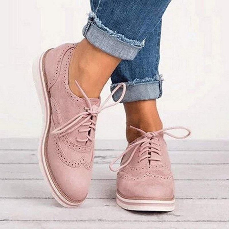 Female Non-slip Breathable Lace Up Low Footwear Women Brogue Shoes Ladies Oxfords Cut-Outs  Platform England Shoes