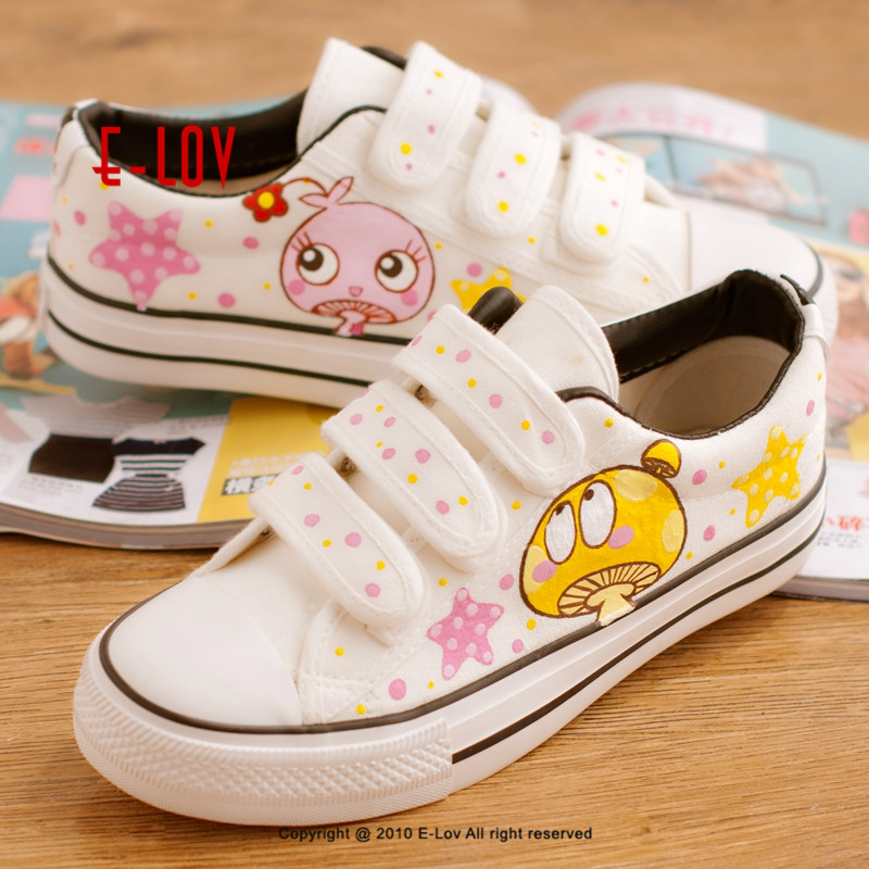 E-LOV Fashion Women Vulcanized Shoes Hand-Painted Flat Shoes Cartoon Custom Canvas  Casual Shoes Hot Sale Hook& Loop New Ar
