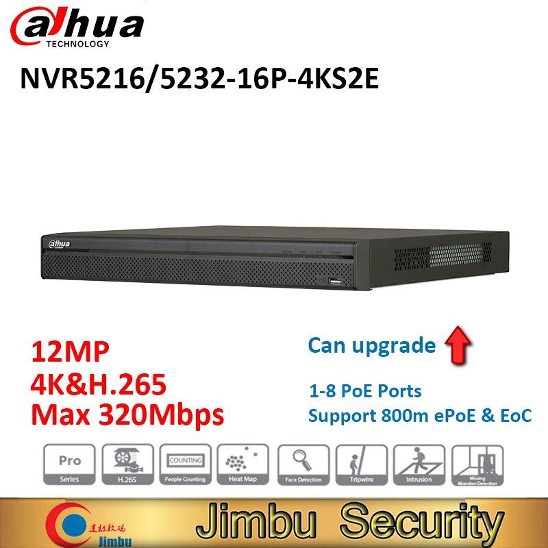 Dahua NVR NVR5216-16P-4KS2E NVR5232-16P-4KS2E chaleur carte 16poe port 1-8 PoE Soutien 800 m ePoE et EoC jusqu'à 12MP comptage de personnes