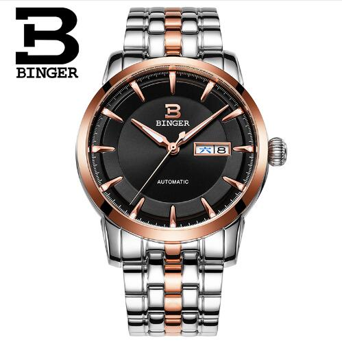 Geneva Brand Binger Luxury Men Watch Classic Stainless Steel Business Automatic Self Wind Mechanical Watches Relogio Masculino original binger mans automatic mechanical wrist watch date display watch self wind steel with gold wheel watches new luxury