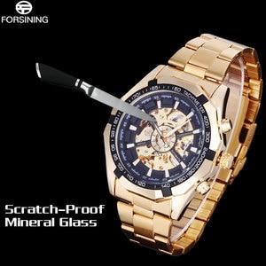 Image 5 - FORSINING מותג גברים אוטומטיים שעונים שלד מכאני שעונים גברים של זהב נירוסטה שעון Relogios Masculino