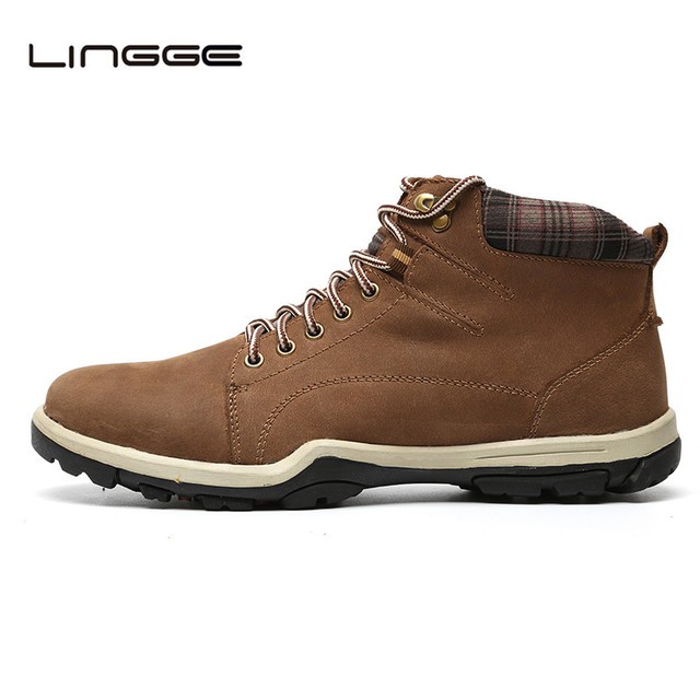 LINGGE Brand High Quality Men Boots, Lace Up Design Ankle Boots Men,  Genuine Leather