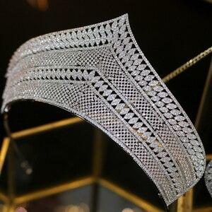 Image 1 - Wysokiej jakości cyrkonia ślubna ozdoba na głowę akcesoria dla nowożeńców ślubne akcesoria do włosów prezent
