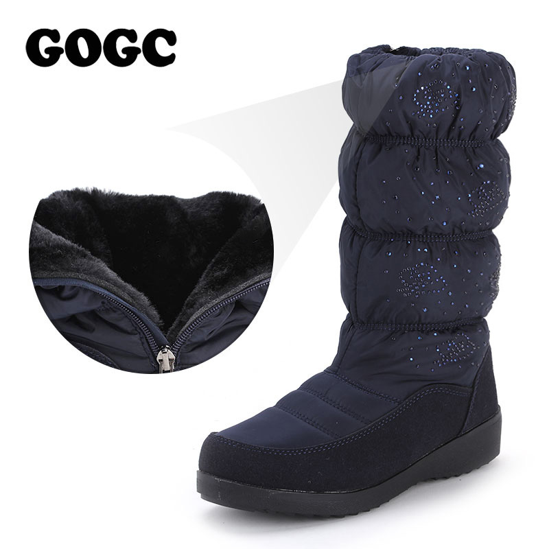 GOGC 2018 Warm Women Boots Winter Mid Calf Big Plus Size Fur Winter Boots Women Fashion Snow Boots Brand New Winter Shoes Women brand new winter quality women mid calf wedges boots fashion black red beige lady riding shoes eym02 plus big size 10 43