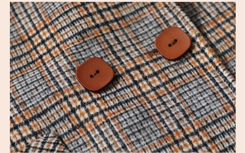 Manteau Moyen Orange Taille De Automne D'âge Treillis 2018 4xl Grande Laine Femmes À Élégant Outwear Revers Nouveau Vintage Ch758 Carreaux fFdfHXnq