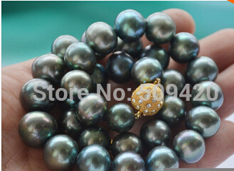 Free shipping >> Huge AA++ 17 12mm ROUND PEACOCK BLACK FW cultured PEARL NECKLACE f 51430nfu fw f 51430nfu fw aa 9 4 inch f 51430nfu fw aen lcd original made in japan a f 51430nfu fw aa