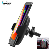 Ascromy Fast Car Mount QI Wireless Charger Phone Holder Stand For iPhone XS Max X 8 Plus 10 Samsung S9 S8 Car Air Vent 5V 2A 10W